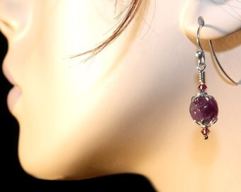 Carved Amethyst   ---  Amethyst Carved Bead Earrings With Sterling Silver Ball Ended Ear Wires