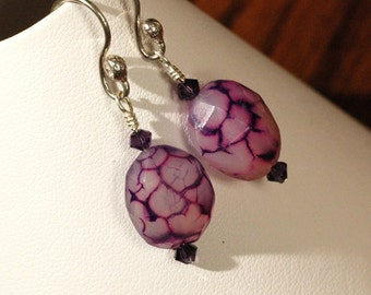 Purple Fantasy   ---  Purple Fantasy Chalcedony Earrings On Handmade Sterling Silver Ball Ear Wires