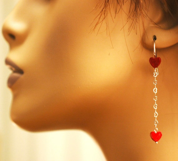 Heart Dangles   ---   Howlite Hearts With Sterling Silver - Heart Dangle Earrings - Heart Earrings