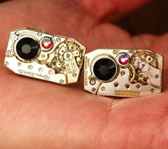 Missing Link   ---   Rectangular Steampunk Cuff Links   ---   Cufflinks Made From Rectangular Vintage Repurposed Watch Movements