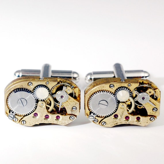 Missing Link - GOLD Rounded Rectangular Steampunk Cuff Links - Identical Petite Gold Vintage Rectangular Repurposed Watch Movement Cufflinks