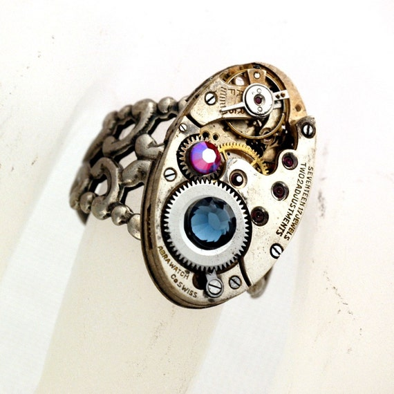 Something Old, Something Blue - Timeless Elegance UNISEX Adjustable Steampunk Ring - Vintage Watch Movement On A Silver Filigree Ring Band