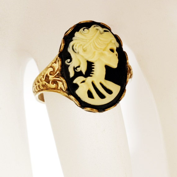 Death Becomes Her - Day Of The Dead Goddess - SOLDERED Adjustable Victorian Steampunk Ring - Lady Decay Cameo In Black, Ivory, Antique Brass