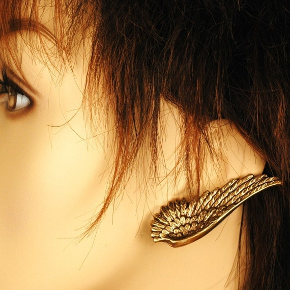 Dark Angel -- Winged Earrings In Antiqued Brass - The Flight Series - Ear Wings Are Lead and Nickel Free - With Hypoallergenic Posts