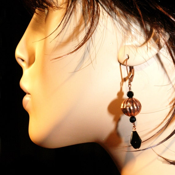 Rustic Glam   ---   Antiqued Copper with Black Crystal Teardrops