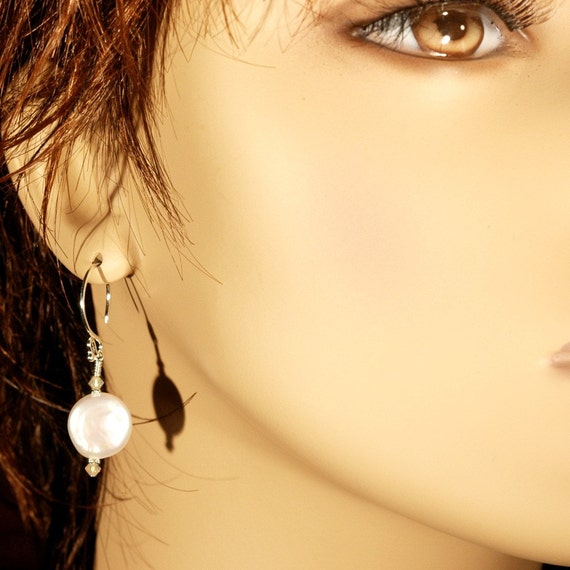 Pearl Coins   ---   Pearl Coin and Crystal Earrings on Sterling Silver French Hooks