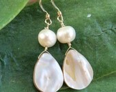 Gold Freshwater Pearl Drops