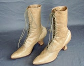 Victorian Leather Boots. Pale Tobacco. Lace Up.