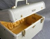 Dove Grey Train Case. Gold Lining. Samsonite.