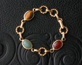 Carved Stone Scarab Bracelet.  Semi Precious Stones.