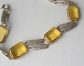 Art Deco Bracelet. Honey Glass. Czechoslovakia.