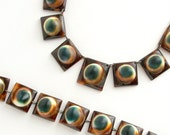 Art Deco Operculum Necklace. Tortoiseshell  Aquatic. Eyeballs. Shells.