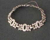 Art Deco Rhinestone Bracelet. Vintage 1920s Antique.