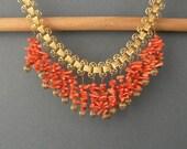 Art Deco Necklace. Coral Fringe Bookchain. Orange.