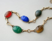 Art Deco Sterling Necklace . Scarabs . Egyptian Revival . Symmetalic .