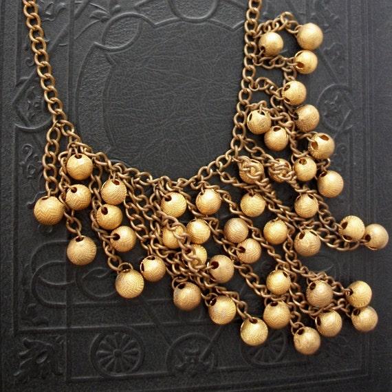 Art Deco Necklace Long Fringe Bib 1930s Gilt Brass