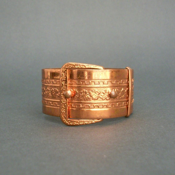 Art Deco Buckle Bracelet . Copper . Floral Stampings .