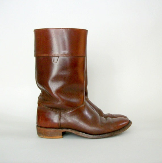 Vintage Leather Riding Boots . Mahogany .  Leather Soles . Mens 9 Womens 11 .
