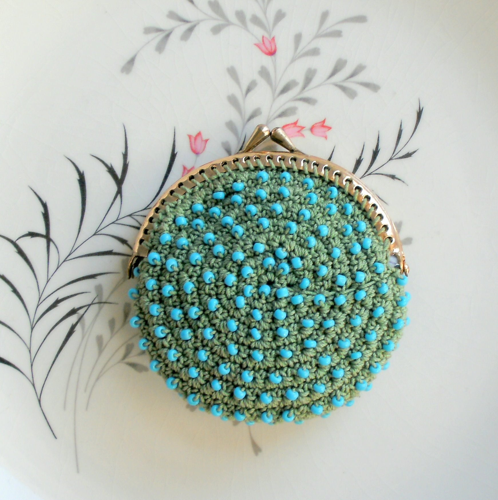 Coin Purse Crochet : Little Sage Green Crochet Coin Purse with Pale Blue by pinguim
