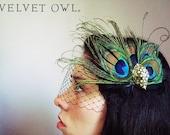 Wedding veil, peacock veil, black veil, black wedding veil, black birdcage veil, peacock feather fascinator, peacock clip, birdcage veil,