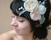 Carmindy- Ivory lace bridal head band with silk dupioni flowers Ivory blush pink and champagne