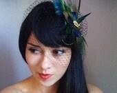 Peacock veil, black peacock veil,  peacock birdcage veil, peacock fascinator, bridal peacock clip, birdcage veil set, black veil,