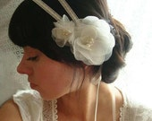 Lucinda II- Ivory, or Off white bridal double headband and organza flowers