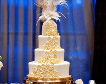 wedding cake topper, bridal cake topper, Gold cake topper, Champagne cake topper, feather cake topper, - EMPIRESS