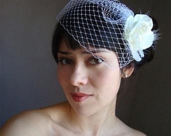 birdcage veil ivory, birdcage veil, birdcage veil fitted, bridal veil, simple veil, ship ready veil, fitted veil, veil sale,