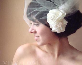 tulle blusher veil, tulle birdcage veil, bridal hair clip, bridal hair comb, wedding fascinator, rose veil, flower veil, wedding veil,