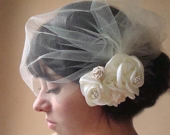Bridal veil, blusher veil, birdcage tulle veil, birdcage veil, flower veil set, flower veil, Ivory tulle veil, detachable veil, veil