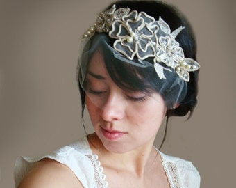 Mini tulle birdcage veil detachable with Bridal fascinator lace head piece headband hair clip and Ivory leaves pearls - CLARA LUCIA