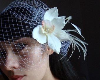 wedding veil, Birdcage veil, orchid birdcage veil, wedding orchid veil, orchid veil, beach wedding veil, beach veil, veil