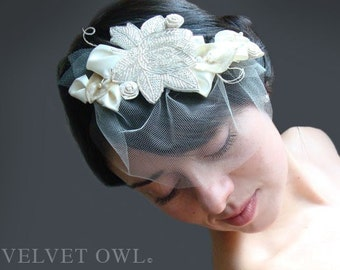 Bridal clip comb fascinator head piece and detachable birdcage mini tulle veil - VERONA