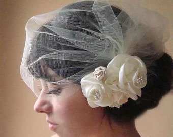 Birdcage veil, Bridal veil, tulle birdcage veil, tulle side veil, tulle side birdcage veil, side veil, tulle blusher veil, veil