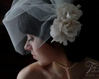 blusher veil, wedding veil, tulle birdcage veil, gardenia veil, flower birdcage veil, birdcage veil with flower, flower veil, veil,