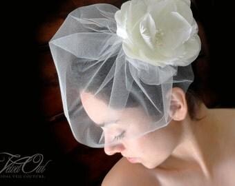 Bridal flower comb clip fascinator and detachable mini blusher tulle birdcage veil - ESME