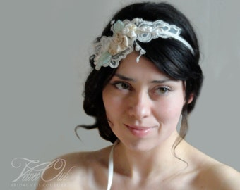 Hair vine, vine headband, Bridal lace headband, vintage lace headband, Ivory headband, champagne hairband, woodland bride headpiece, wedding