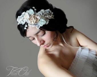 Bridal lace headband, bridal leaves headband, vintage lace headband, leaves headpiece,