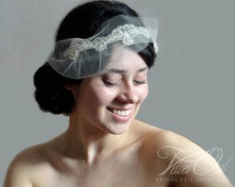 Wedding headband, mini veil, wedding veil, bridal veil, wedding headpiece, bridal veil and headpiece, bridal crown, bridal headpiece, veil,