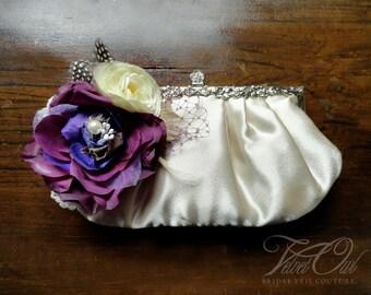 Bridal clutch, purple clutch, wedding purse, champagne clutch, champagne purse, custom color clutch, wedding clutch, deep purple clutch,