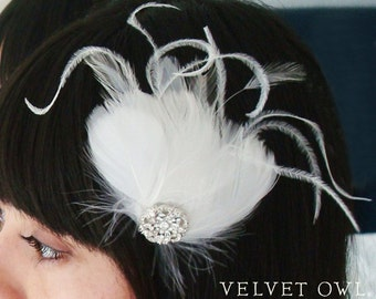 bridal feather clip fascinator or comb birdcage veil hair pin Diamond White - AMORA