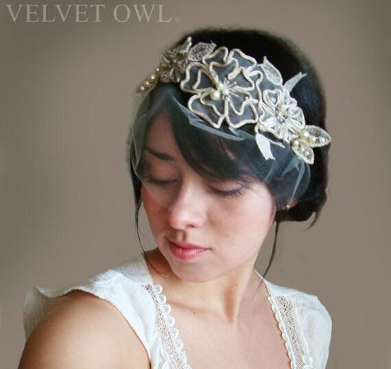 Bridal head piece, champagne headpiece, champagne veil, mini tulle veil, birdcage  veil, tulle birdcage veil, detachable veil,