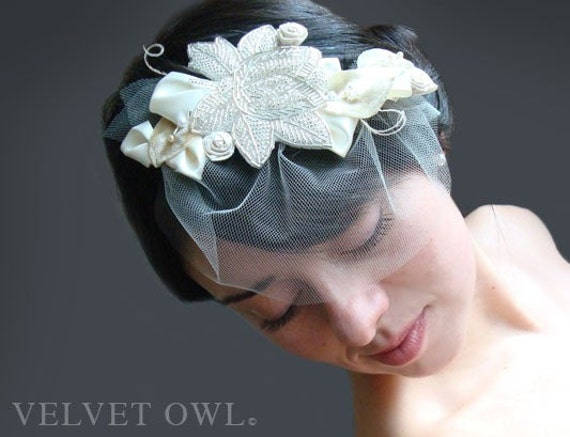 Mini tulle veil detachable and Bridal clip fascinator or comb with crystal leaves leaf accents SALE - VERONA