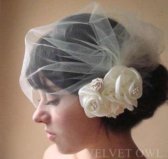birdcage veil tulle side blusher easy fit available as clip in Ivory White Champagne Blush Pink