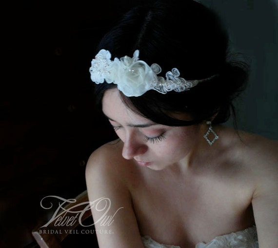 Bridal headband halo crown small silk roses tiara lace budded flowers Champagne Ivory or White Alencon swarovski crystals head band - ELODIE