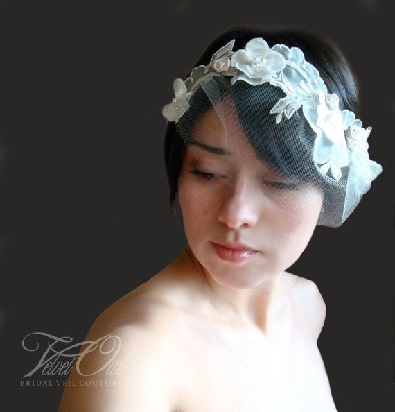 bridal french country lace head band and detach mini tulle veil- HELENA