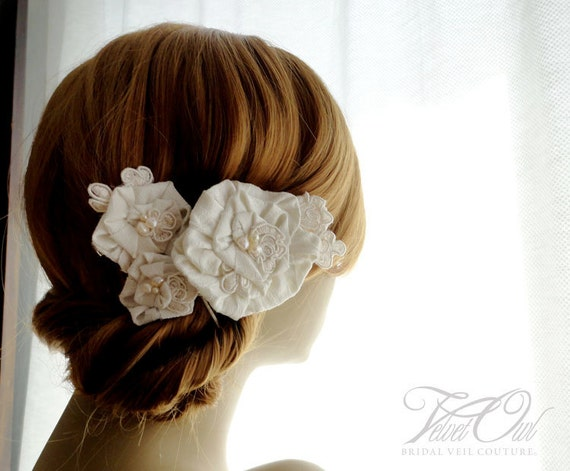 Bridal hair clips combs fascinators silk dupioni flowers and detachable full length French netting birdcage veil - LEILA SET