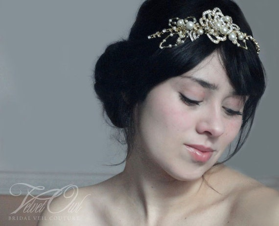 Gold Bridal headband tiara golden flower and leaf leaves woven pearls and crystals toga bride wedding - AUGUSTINE