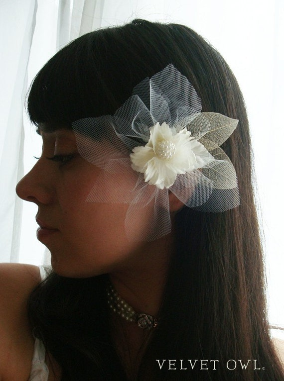 Bridal flower clip ivory off white or leaves fascinator comb birdcage veil attachment - DORIAN